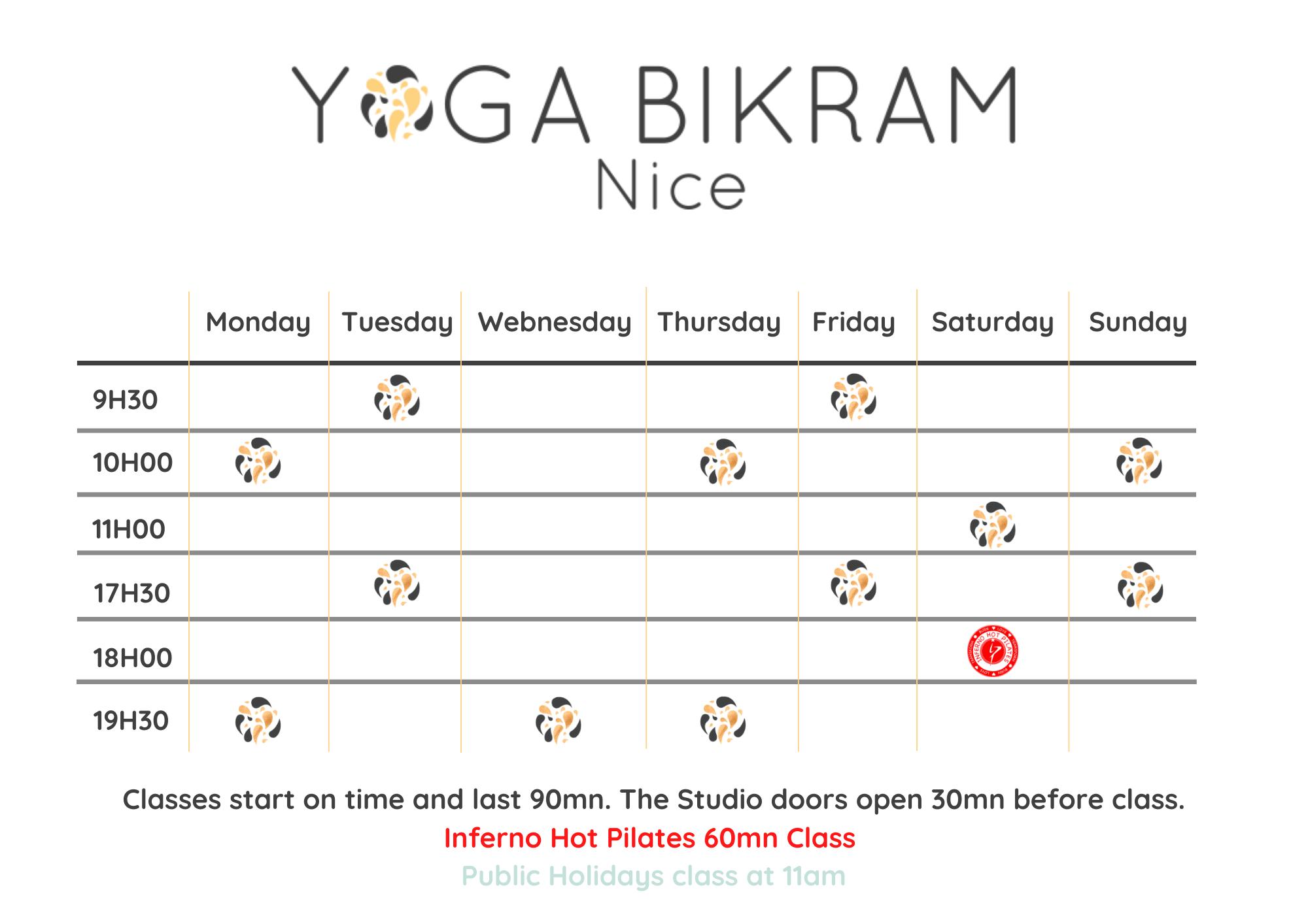 Yoga Bikram Nice Schedule